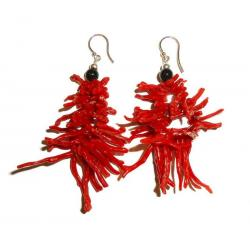 Women's Red Coral Onix and Silver Earrings CR018