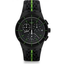 Купить Swatch Мужские Часы Chrono Plastic Laser Track SUSB409 Хронограф