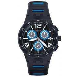 Купить Swatch Мужские Часы Chrono Plastic Black Spy SUSB410 Хронограф