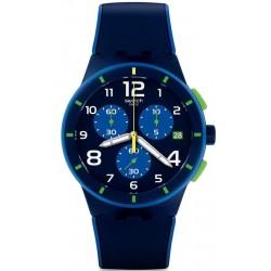 Купить Swatch Мужские Часы Chrono Plastic Bleu Sur Bleu SUSN409 Хронограф