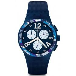 Купить Swatch Мужские Часы Chrono Plastic Camoblu SUSN414 Хронограф