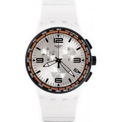 Купить Swatch Унисекс Часы Chrono Plastic White Blades SUSW405 Хронограф